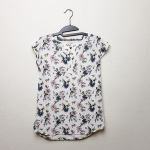 Ann Taylor Loft white floral print V neck top